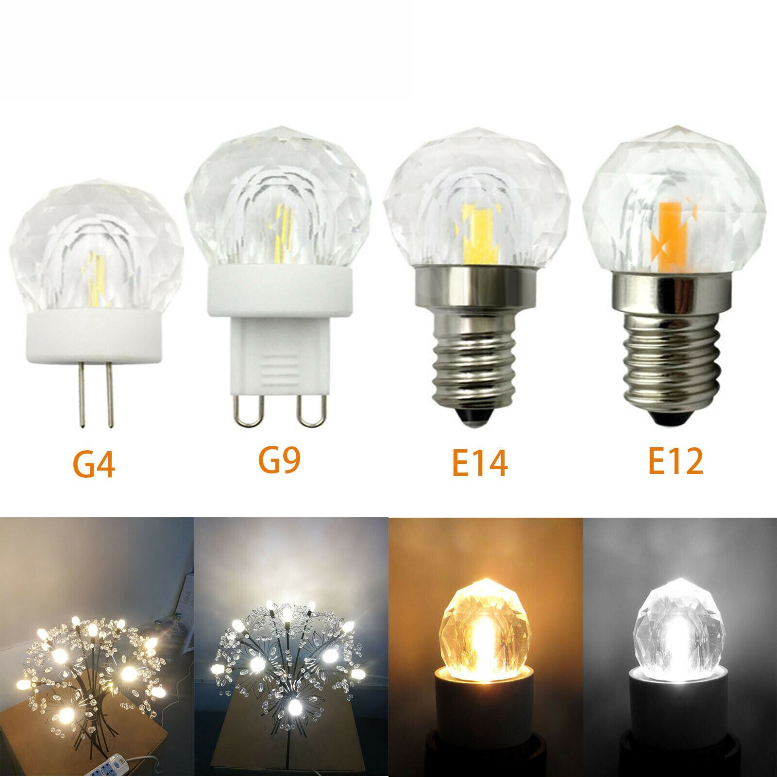 Regulable 110V 220V Mini G4 G9 E12 E14 4W LED K9 bombillas de cristal COB reemplazar la lámpara de halógeno lámparas colgantes