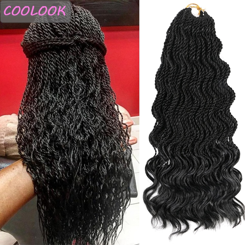 AliExpress - Afro Wave Twist Crochet Hair Ombre Wavy Senegalese Twist Braiding Hair Extension Natural Synthetic Crochet Braids Hair for Women