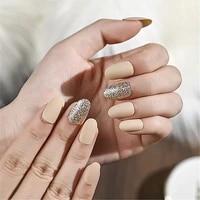 30 pcs detachable french coffin acrylic false nail tips ballet fake nails glitter and matte medium long press on nails