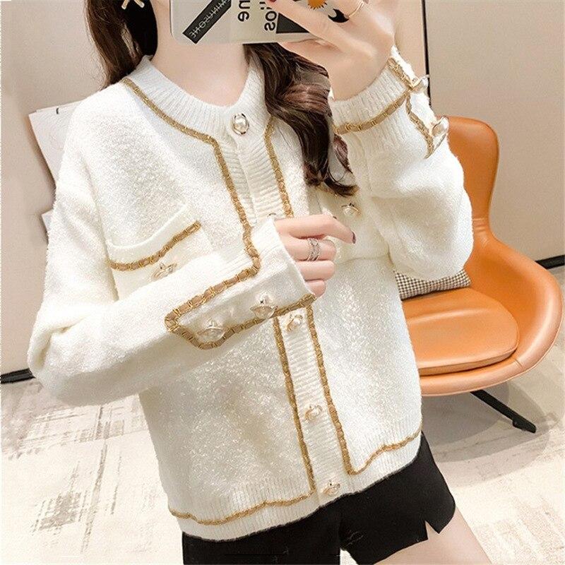 WAYOFLOVE Модный кардиган с карманами, Женский Повседневный вязаный однобортный зимний свитер, кардиган, женский белый свитер 2021