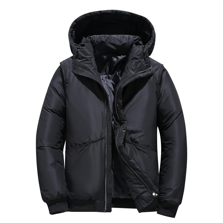 Зимние куртки на белом утином пуху, мужские теплые ветровки с капюшоном, мужские парки с капюшоном, мужские цветные повседневные пуховики н...