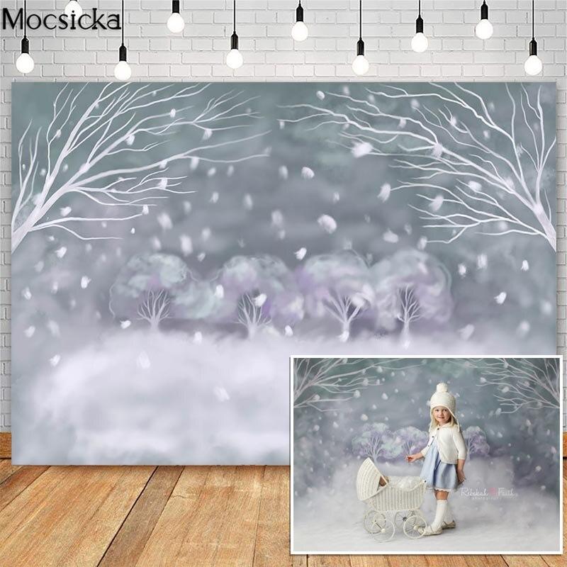 Mocsicka natal floco de neve fotografia backdrops inverno país das maravilhas pintura a óleo photocall fundo photo studio
