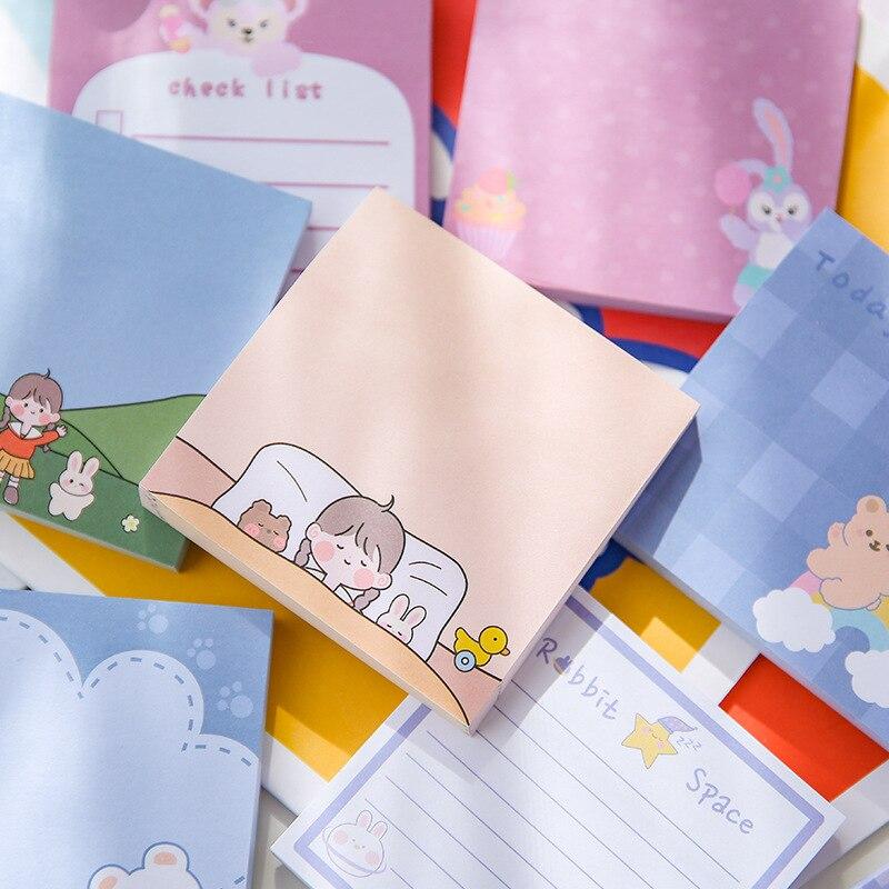 Pegatinas cuadradas de dibujos animados para estudiantes y niñas, 80 hojas, Nota...