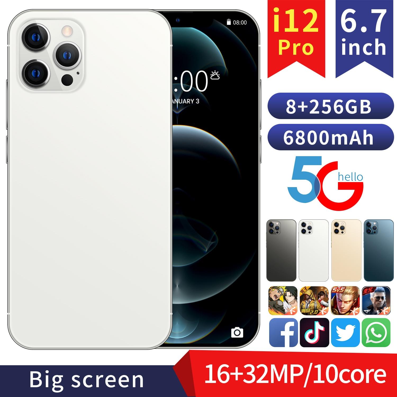 Global Version 6.7'' FHD i12Pro Phone 8GB 128GB/256GB MTK6889 Deca Core Display Smartphone 6800mAh Fast Charge 32MP Three Camera