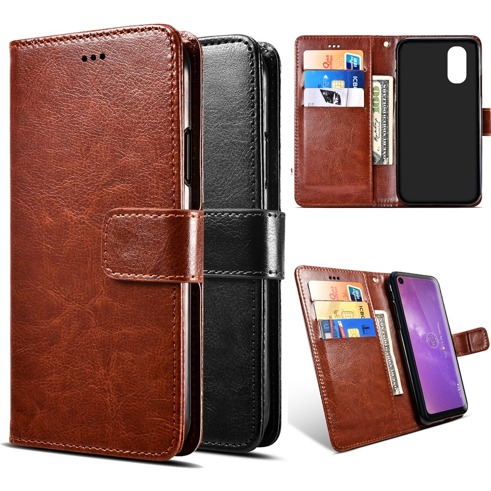 Motorola Moto 1s G6 Z3 E5 G7 One Vision P30 Note Play Plus Power Go Edition funda abatible de cuero PU con soporte para teléfono