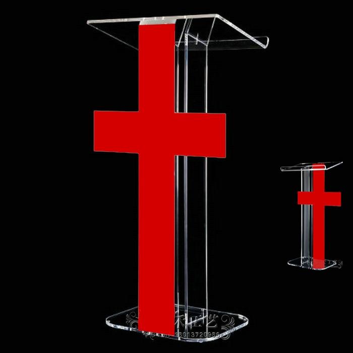 Melhor venda púlpito lectern branco & vermelho cor fácil montagem destacável hotel rostrum para conferência igreja exposição
