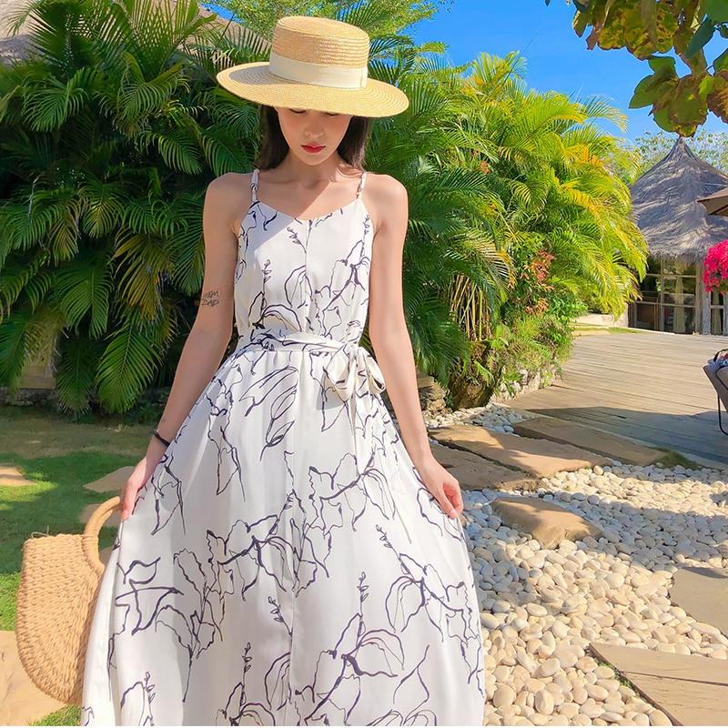 De las mujeres de la moda nueva llegada sin mangas de playa vestido largo vestido de fiesta casual de alta calidad vestido de gasa vestido de