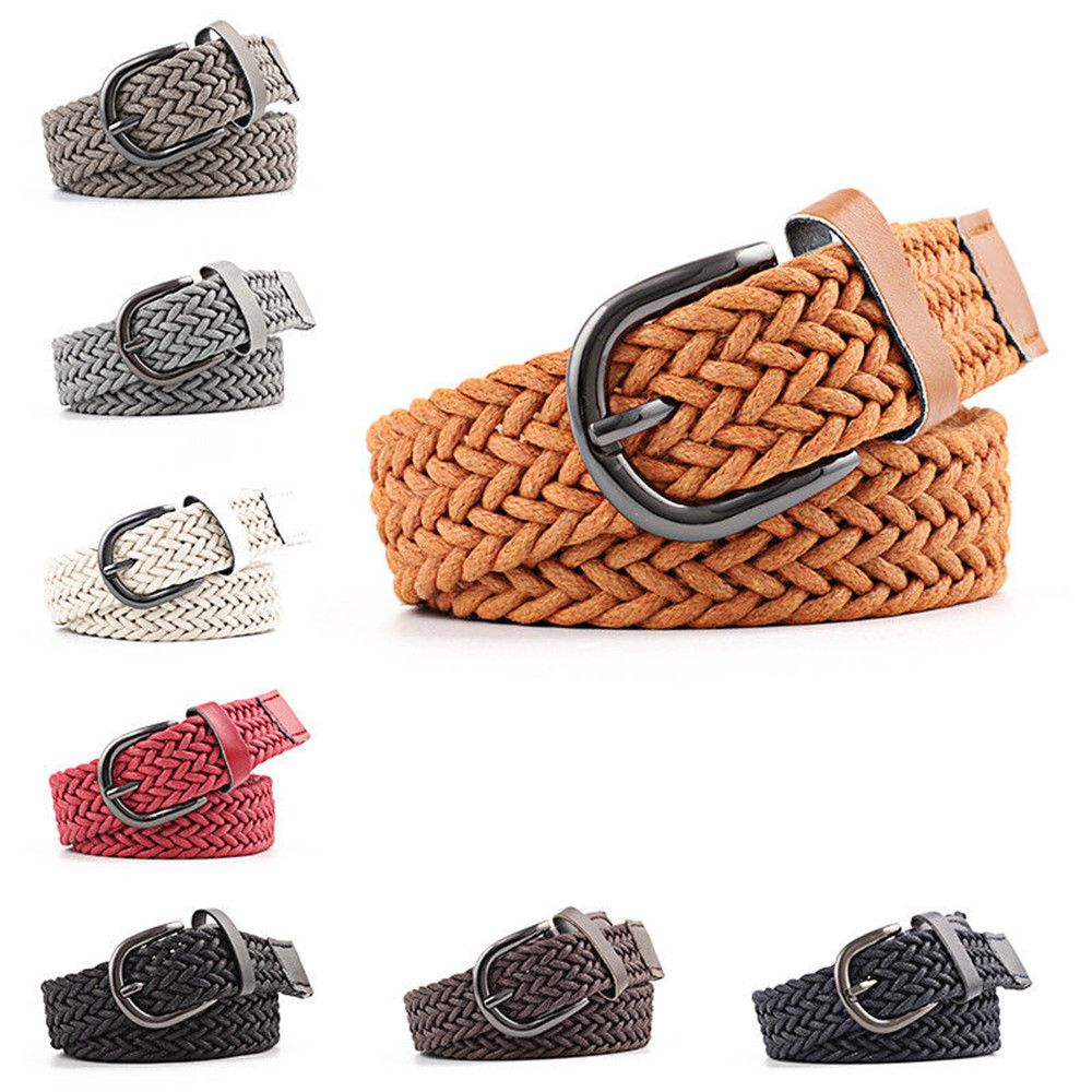 NEW Buckle Belt PU Leather No Punch Easy to Adjust Women Man Unisex Braided Good Quality and High Elasticity