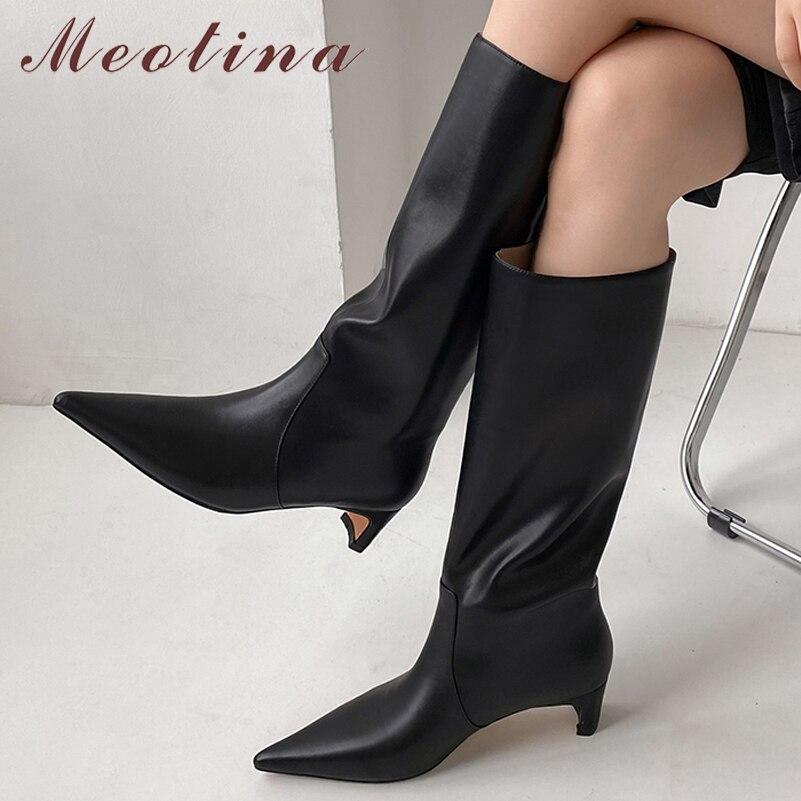 Женские сапоги до колена Meotina, сапоги из натуральной кожи на толстом каблуке, с острым носком, на молнии, Осень-зима