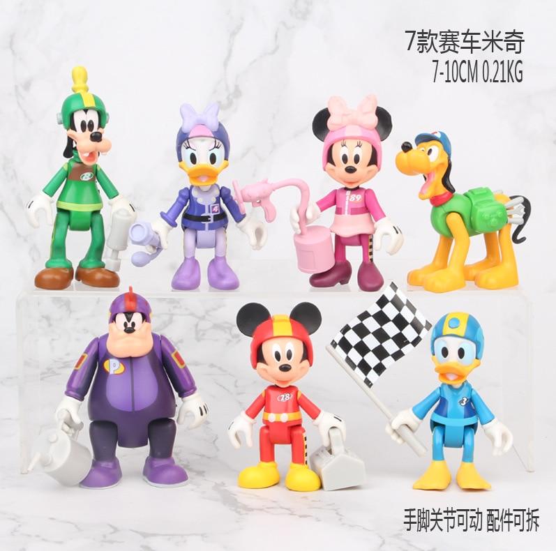 Coche de Mickey Mouse Minnie 7 unids/set figura de acción postura colección de decoración de anime figura de juguete modelo para niños regalo