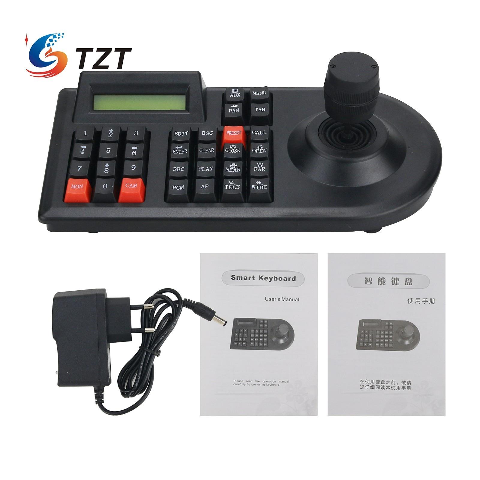 TZT ثلاثية الأبعاد عصا التحكم PTZ لوحة المفاتيح 9VDC للحصول على كاميرا تلفزيونات الدوائر المغلقة Dom RS485 التحكم PTS3103C