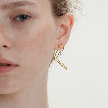 2020 Original Abstract  Lady Leg Line Hoop Earrings For Women  Brief Artsy Body Outline Hoops Earrings Unique Jewelry