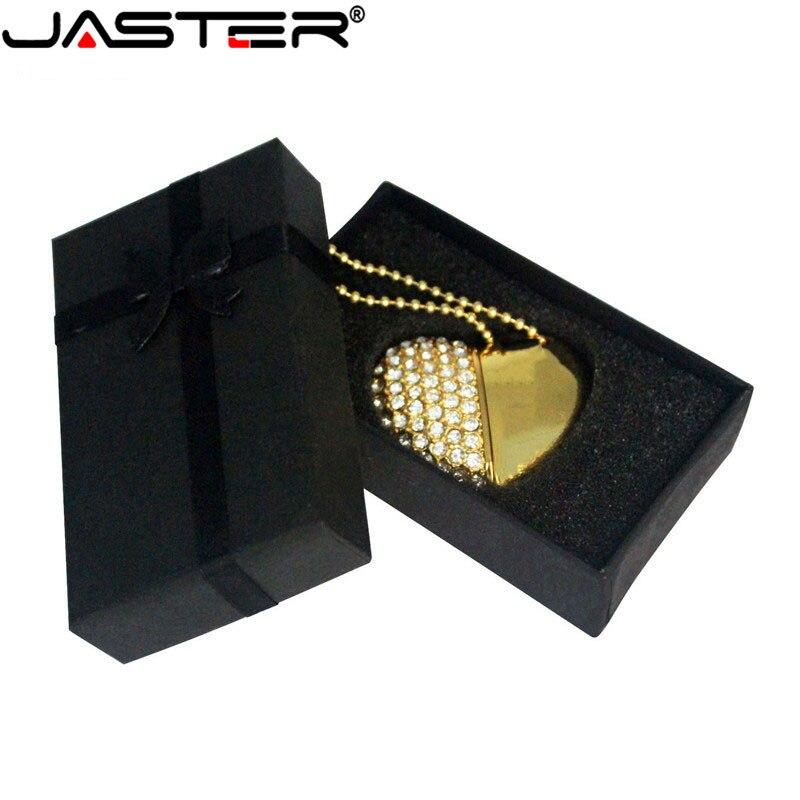 USB JASTER Flash 2,0 disco de cristal amor corazón + caja pen Drive piedra preciosa 4G/ 8G/ 16G/ 32G /diamante stick de memoria de regalo de boda