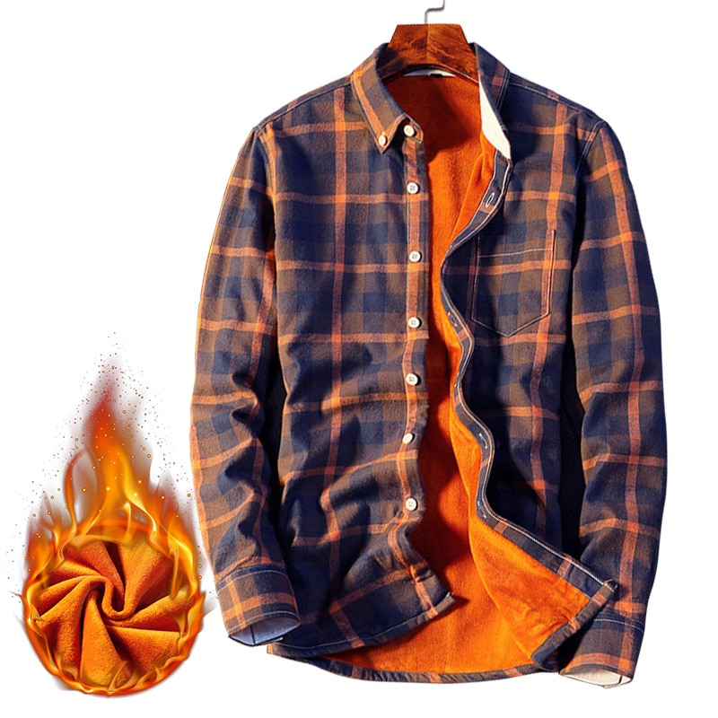 Camisas de franela a cuadros de lana de invierno para hombre Casual Camisa de manga larga ropa de calle gruesa camisa de vestir de algodón cálido hombres Chemise Homme