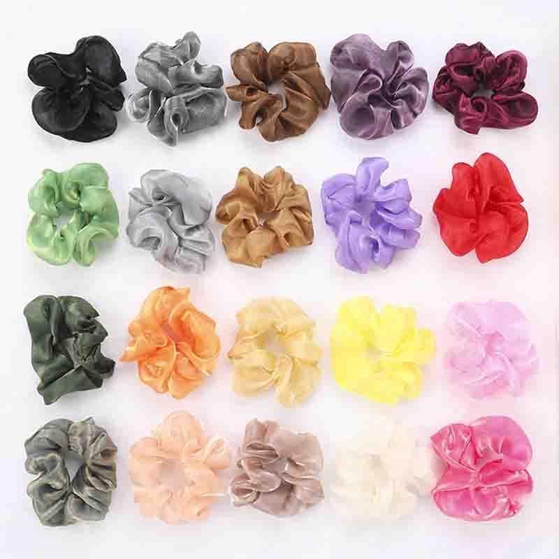 1PC Solid Organza Hair Scrunchie Hair Ring Ties Girls Ponytail Holders Hair Bands Elastic Hairband Hair Accessories Headwear