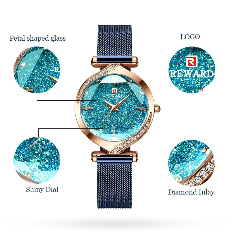 REWARD Fashion New Women Watches Top Luxury Brand Women's Quartz Watch Stainless Steel Waterproof Ladies Bracelet Wristwatch enlarge