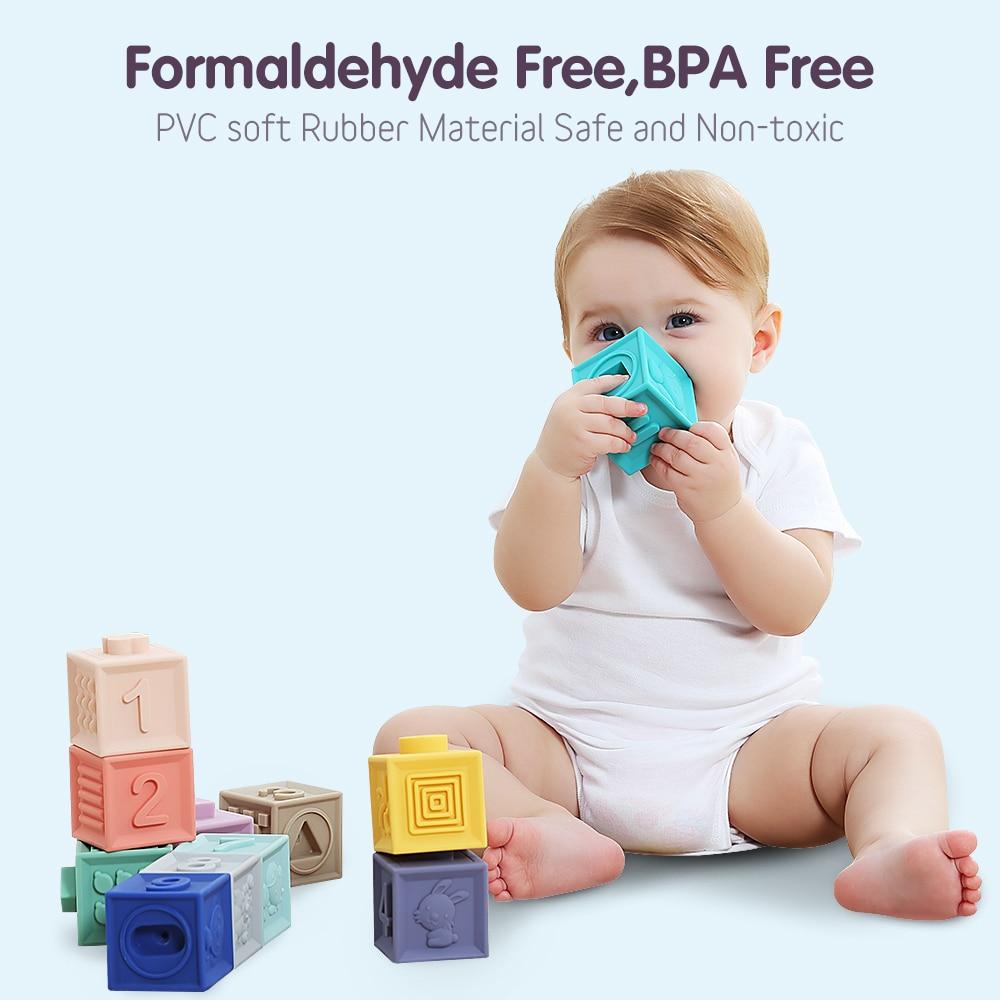 12 unids/pack bebé alcance bloques de construcción de juguete 3D contacto mano pelotas suaves masaje de bebé de goma suave mordedor juguete de baño Juguetes