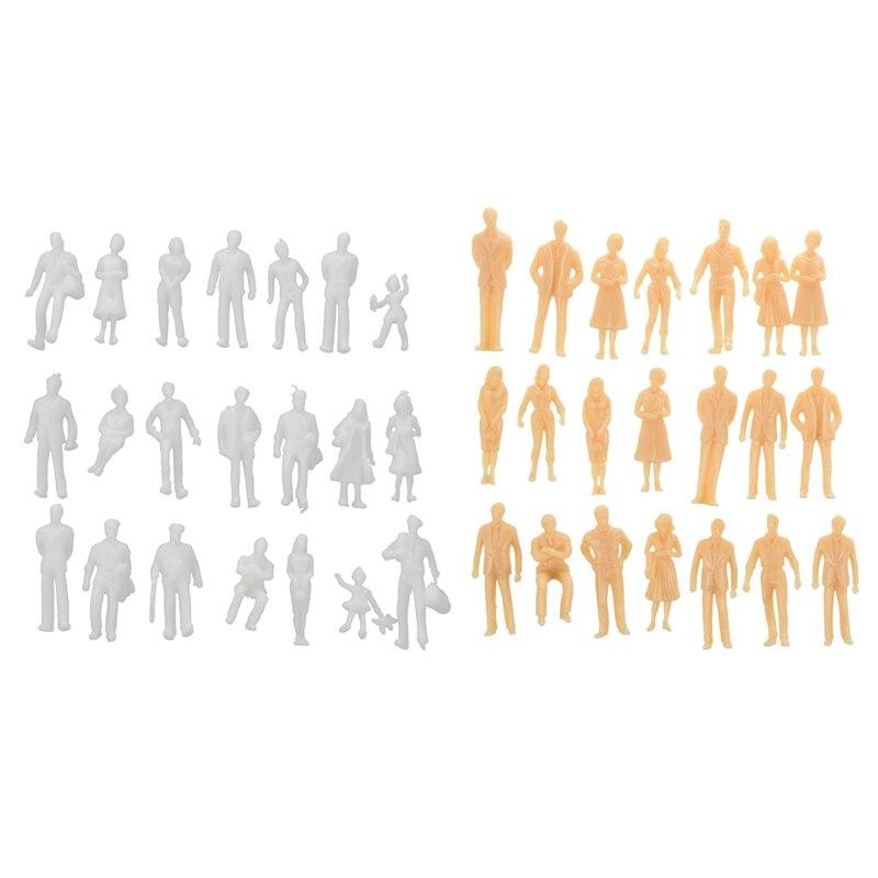 100 Uds miniatura sin pintar tren figuras de escala O personas (de 1 a 50) y 100 Uds modelo de tren figuras de personas escala HO TT (1 a 100) Assort