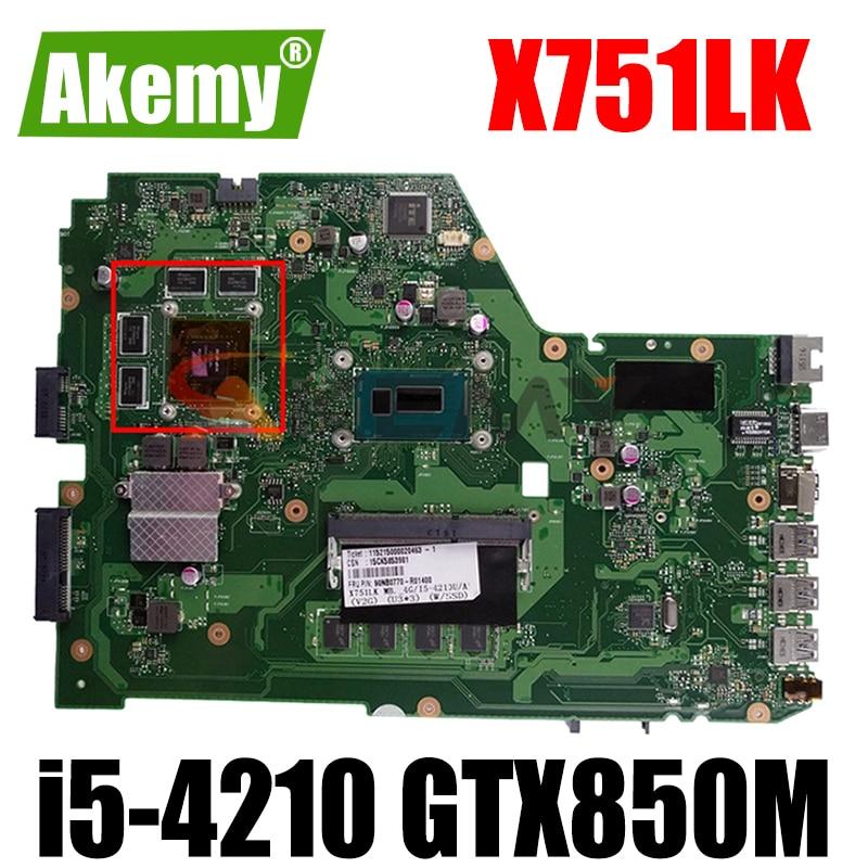 X751LK اللوحة الرئيسية X751LK GTX850M i5-4210 وحدة المعالجة المركزية 4GB RAM اللوحة الرئيسية REV 2.0 ل ASUS X751LK X751LKB X751L A751L اللوحة الأم للكمبيوتر المحمول