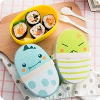 plastic 2 layer cartoon lunch box leakproof portable tableware food storage container with compartment elastic bandage snack box