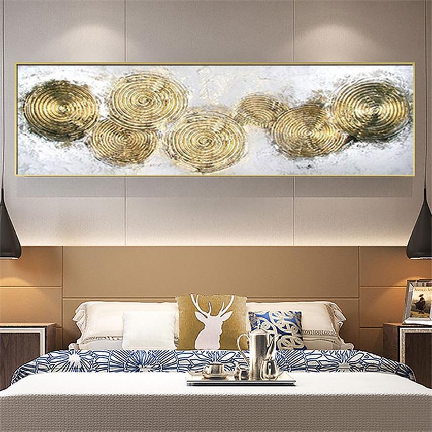 Gran anillo de tiempo pintado a mano pintura al óleo abstracta Morden sobre lienzo pinturas doradas pared arte pared cuadros para decoración de habitación en vivo