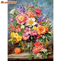 ruopoty flowers painting by numbers vase on canvas for adults diy kits frame drawing oil coloring pictures by number decor art