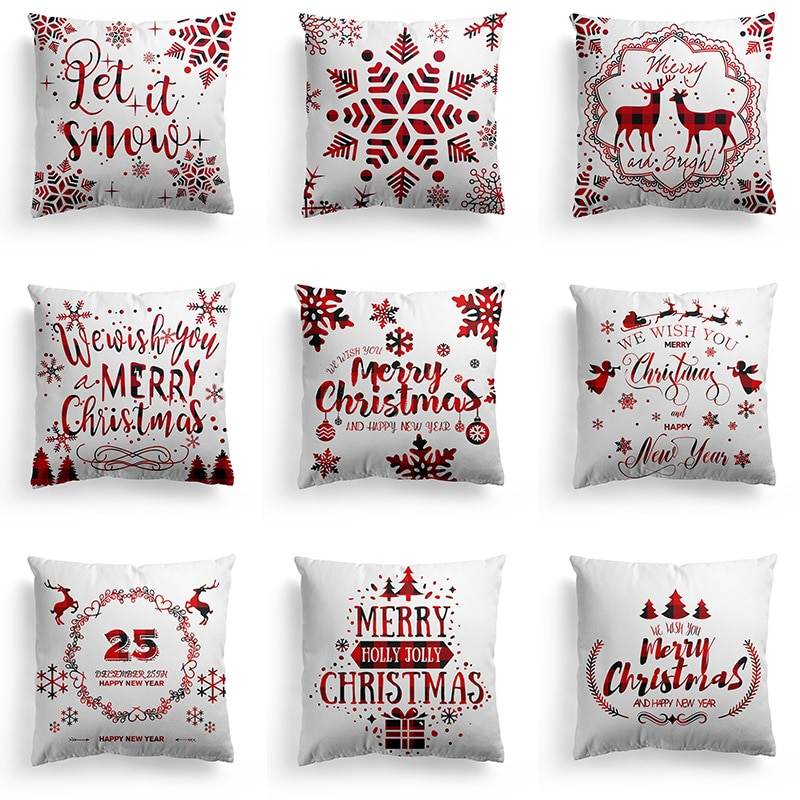 merry christmas cushion cover christmas decorations for home happy new year decor christmas ornament cotton linen pillow cover pillowcase 45cm x 45cm Pillowcase 45*45CM Merry Christmas Snowflake/Christmas Elk Hugging Pillow Case/Home Holiday Decoration Pillow Cushion Cover