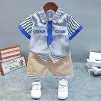 2021 new striped childrens short sleeved shorts two piece suit lapel shirt with tie trendy childrens suit