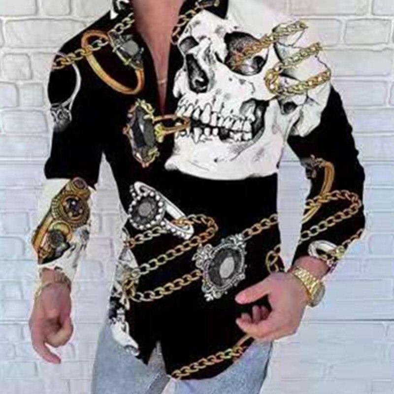 Новые модные мужские королевские рубашки в стиле барокко с цифровой печатью черепа Роскошные брендовые дизайнерские классические рубашки ...