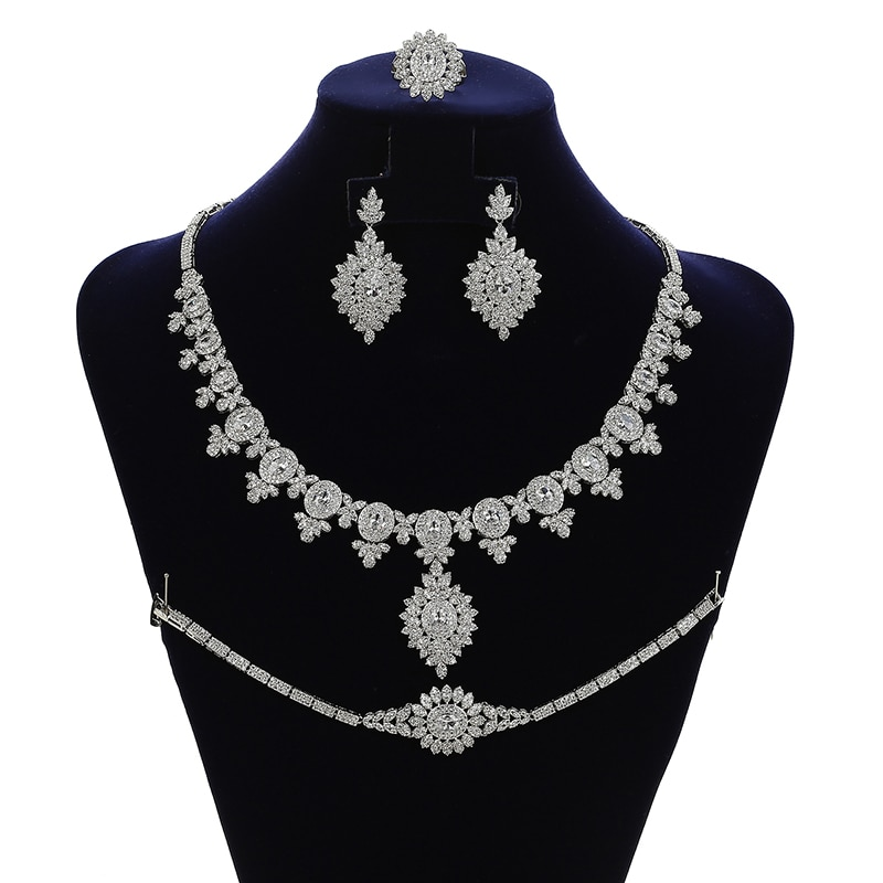 Jewelry Sets HADIYANA Simple Designer Vintage Women Wedding Necklace Earrings Ring And Bracelet Set Zircon CNY126 Bisuteria