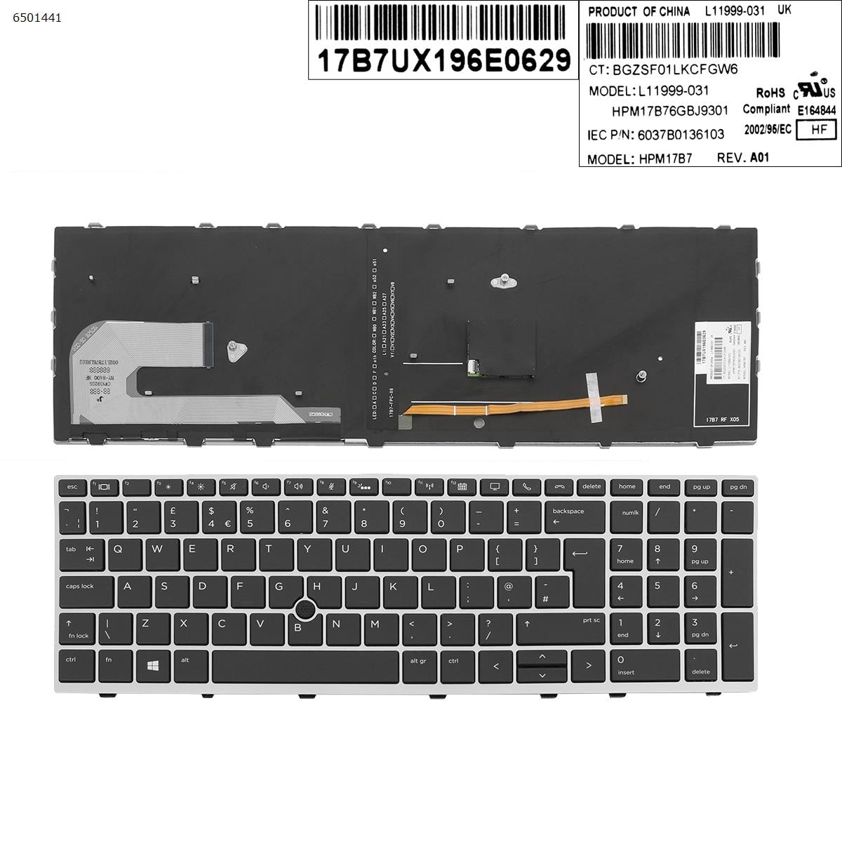 UK جديد استبدال لوحة مفاتيح إتش بي EliteBook 850 G5 755 G5 850 G6 محمول لوحة مفاتيح بإطار فضي أسود مفتاح مع مؤشر الخلفية