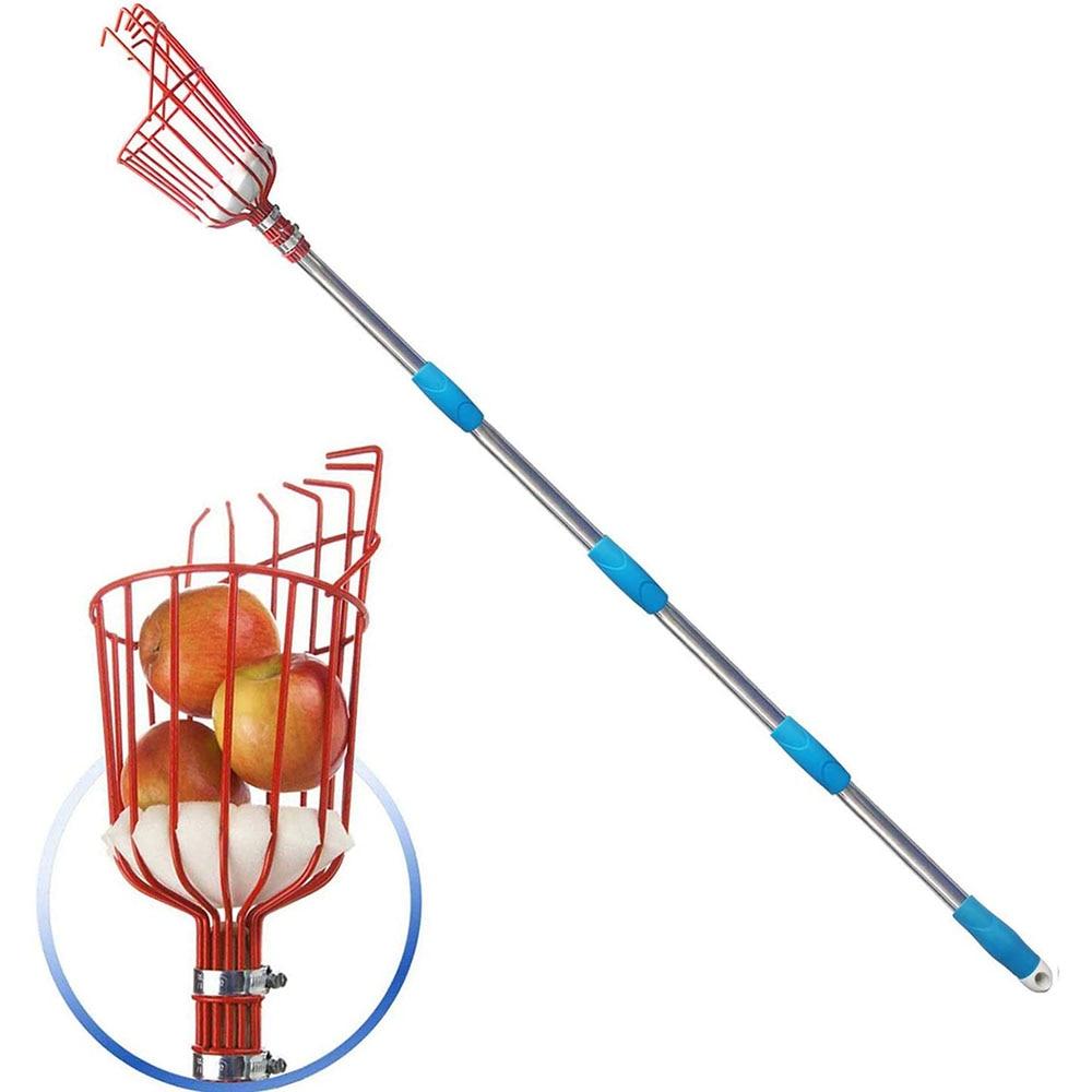 Fruit Picker 260cm Adjustable Deep Basket Convenient Harvesting Fruit Collector Catcher Apple Peach Picking Garden Tools