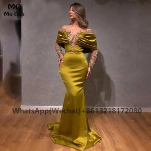2021 Unique Mermaid Off Shoulder Evening Prom Dresses Appliques Beaded Long Sleeves Robe De Soiree Evening Party Prom Dresses