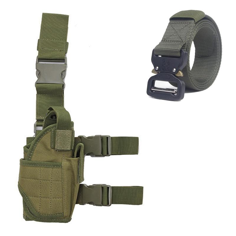 Equipo Militar táctico funda de pistola Universal caza pistola de airsoft gota pierna funda ajustable de Nylon bolsa de cinturón