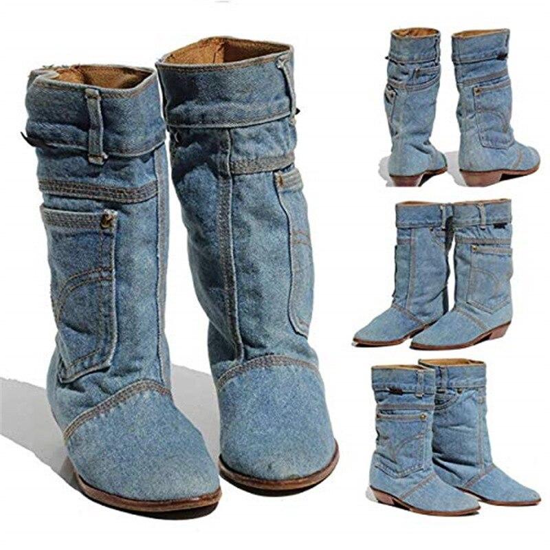 Europeu e americano explosões baixo calcanhar denim casual denim bota senhoras outono inverno botas cowboy tamanho 34-43