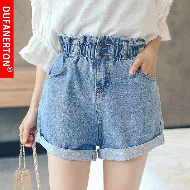 2020 Summer High Waist Denim Shorts Women Casual Loose Ladies Fashion Roll Up Hem Elastic Waist Pocket  Jeans Female Big size