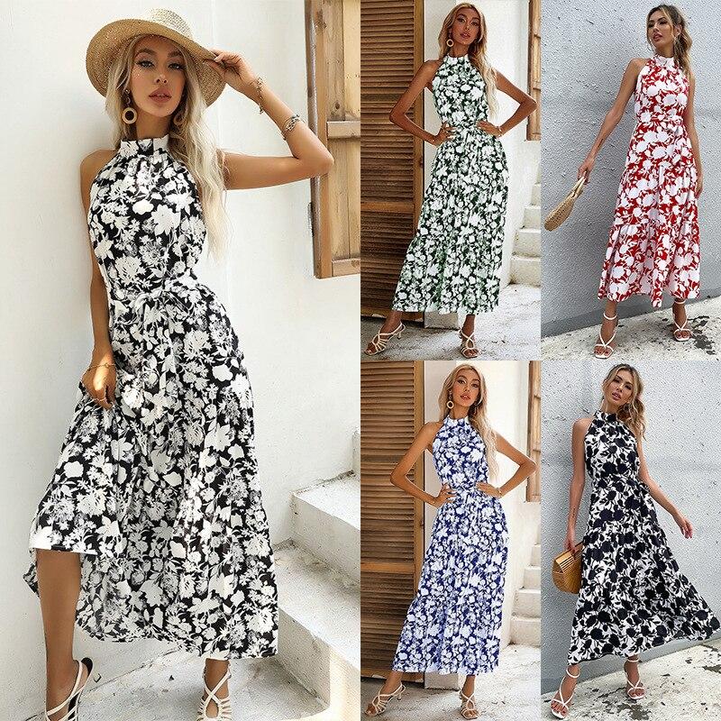 فستان نسائي صيفي 2021 بياقة دائرية بدون أكمام مطبوع رقبة معلق من نوع الحمالات بأربطة فستان منقسم خصر عالي فساتين طويلة راهبة