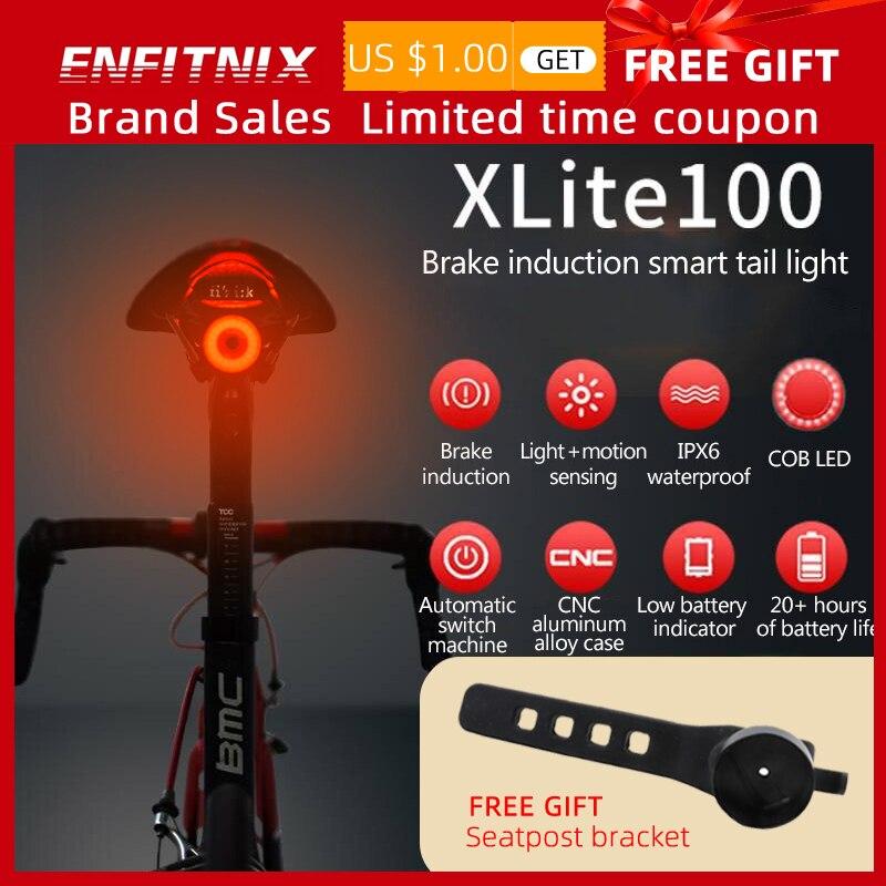Luces traseras de bicicleta Xlite100, sensor inteligente de luces de freno, luces traseras usb para bicicleta de carretera MTB y soporte de matrícula