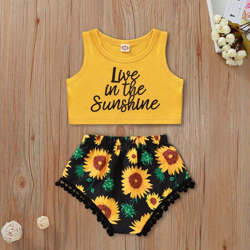 Verano recién nacido carta niñas bebé cortp estampado camisetas amarillas pantalones con girasoles pantalones cortos trajes Sunshine Set