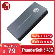 JEYI thunderbolt 3 m. 2 nvme boîtier boîtier de boîtier mobile NVME à TYPE-C en aluminium TYPE C3.1 m. 2 USB3.1 M.2 PCIE U.2 SSD LEIDIAN-3