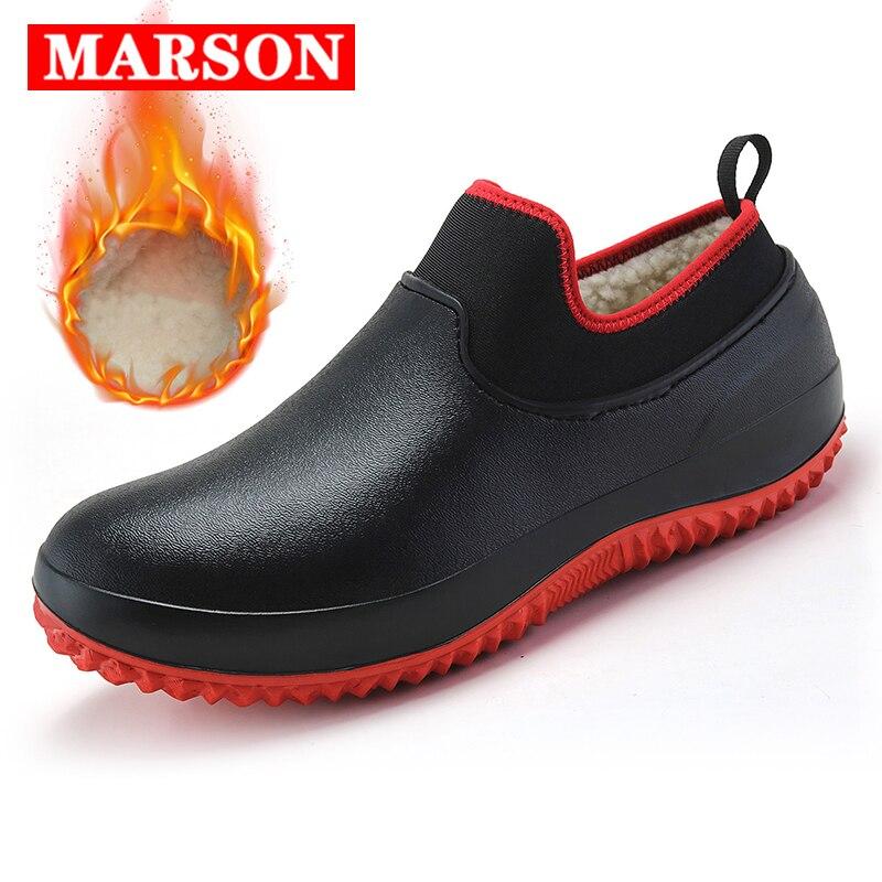 Männer Schuhe Küche Arbeits Schuhe Hinzufügen Baumwolle Nicht-slip Wasserdichte Chef Schuhe Casual Unisex Arbeit Schuhe Wasser Schuhe Regen baumwolle Stiefel
