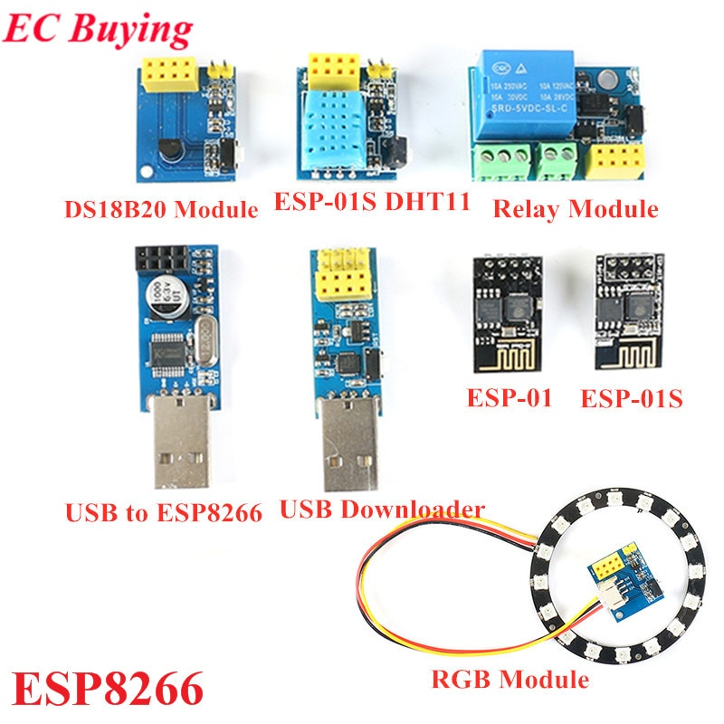ESP8266 WiFi Relay Module USB to ESP8266 DHT11 Temperature Humidity Adapter ESP-01 ESP-01S DS18B20 WS2812 RGB Module For Arduino