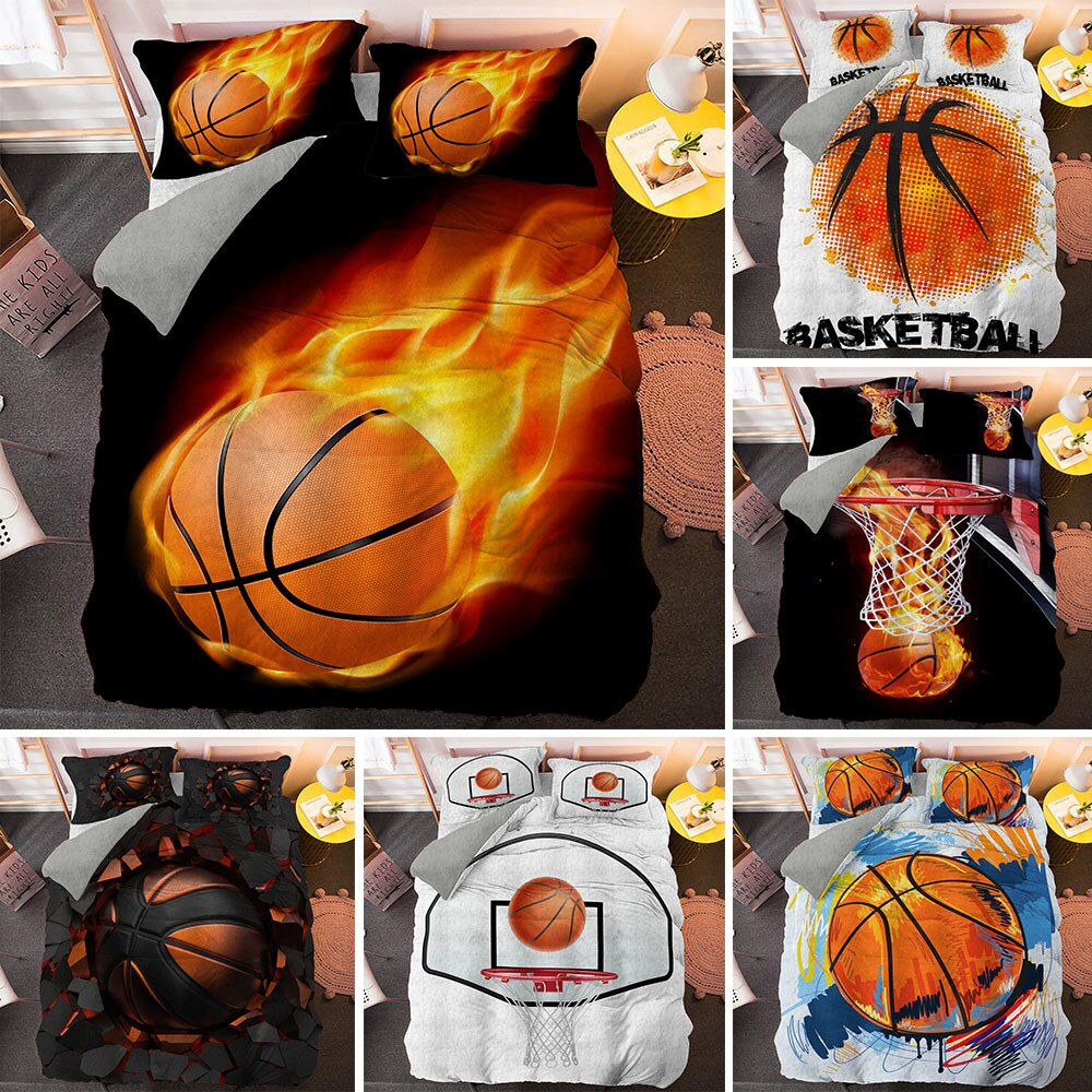 3D Basketball With Fire Bedding Set Boys Duvet Cover And Pillowcase Single King Queen Comforter Covers Customize Pattern