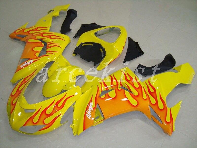 New ABS Motorcycle Fairings Kit Fit for kawasaki Ninja ZX-10R ZX10R 2006 2007 06 07 10R Bodywork Set custom yellow red Flame