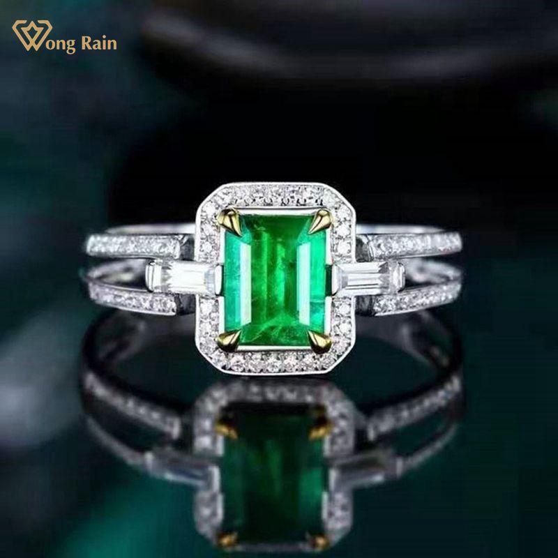 Wong Rain 100% 18K Solid Gold 0.68CT Emerald Cut Natural Emerald Diamonds Wedding Engagement Rings Customized Rings Fine Jewelry