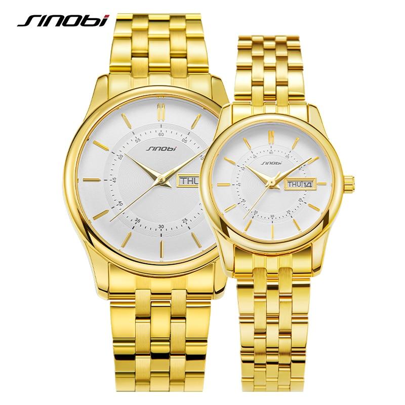 SINOBI 2021 High Quality Luxury Couple Watches Goldren Classic Women Watches Waterproof Men's Watches Lover relogios masculinos