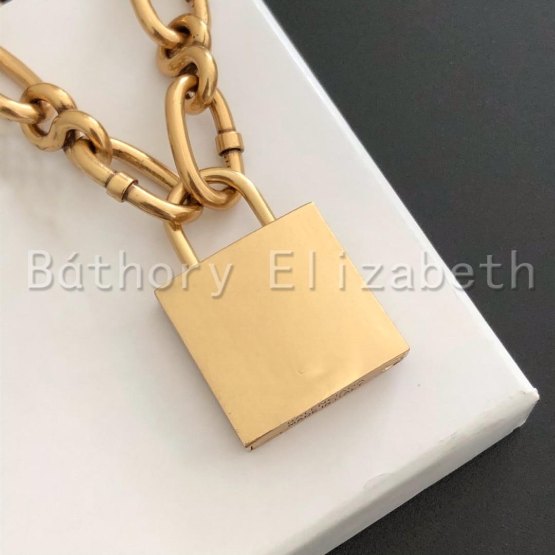 Báthory ·Elizabeth Rock Choker Lock Necklace Layered Chain On The Neck With Lock Punk Jewelry Mujer Key Padlock Pendant Necklace
