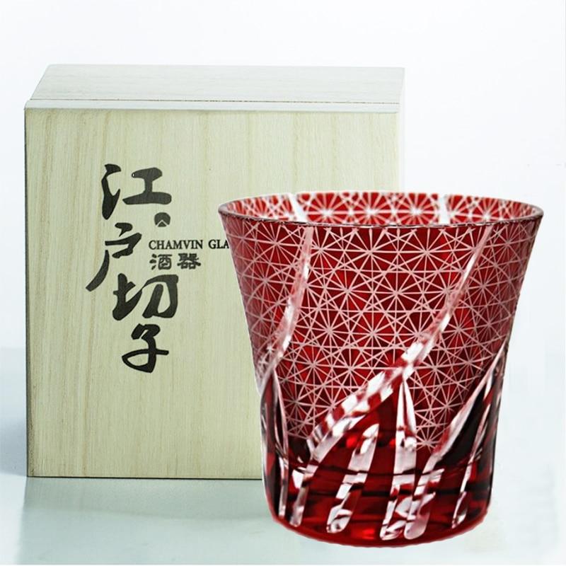 CHAMVIN Limited Edo Kiriko الزجاج الياباني Ayaka قاطع زهور كأس نقية اليدوية ويسكي سكوتش نظارات مع صندوق هدايا