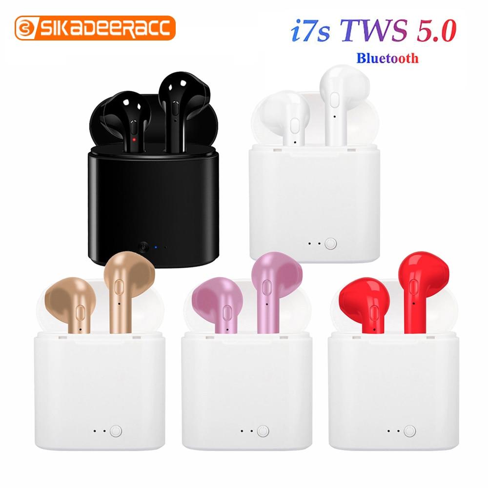 Мини i7s беспроводные Bluetooth наушники в ухо TWS с микрофоном зарядная коробка Handsfree Handsets стерео спортивные наушники для iPhone Xiaomi