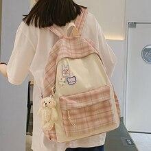 EST-Mochila escolar a cuadros para mujer, de gran capacidad bolso de hombro para estudiantes universitarios, libro, portátil, novedad